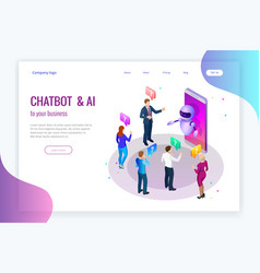 isometric artificial intelligence chat bot and vector image