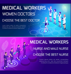 Isometry vivid concept use types medical workers vector