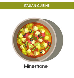 Italian cuisine ministrone soup icon for vector