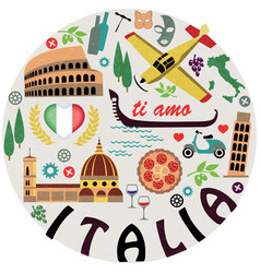 italy symbols cities set vector image
