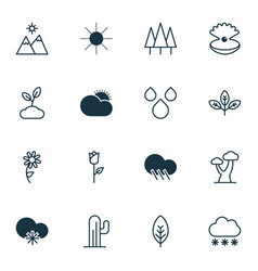 Landscape icons set with tree leaf raindrop cold vector