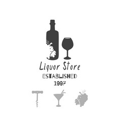 liquor - alcohol store or bar logo template vector image