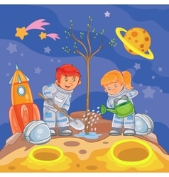 Little boy and girl astronauts planting a tree vector image