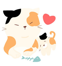 little fluffy cat love big cat vector image