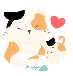 Little fluffy cat love big cat vector