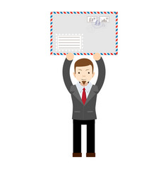 man holding an envelope with a letter vector image