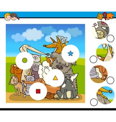 Match pieces game with dogs vector