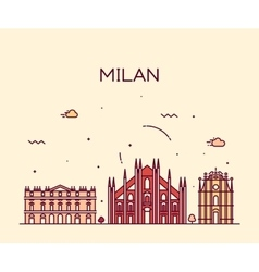 Milan skyline trendy linear vector image