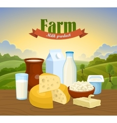 Milk natural farm concept vector