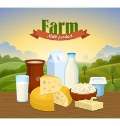 Milk natural farm concept vector image