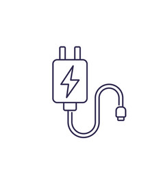Mobile charger line icon on white vector