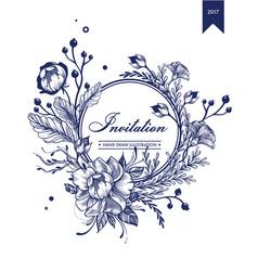 Monochrome invitation floral card template vector