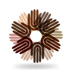 Multi-ethnic hands in a circle icon vector