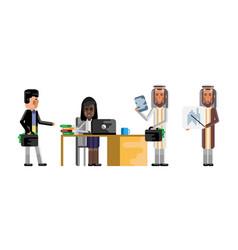Multiethnic business staff working in office vector