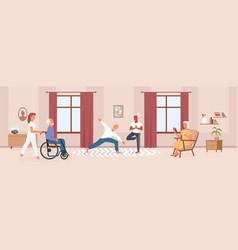 nursing home with senior people do yoga nurse vector image