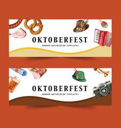 Oktoberfest banner design with beer grilled meat vector