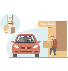 Online order and pick up point vector