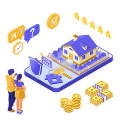 online sale rent mortgage house isometric vector image