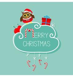 owl in santa hat giftbox snowflake ball merry vector image