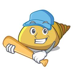 Playing baseball mollusk shell character cartoon vector
