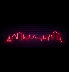 red neon skyline damascus bright damascus city vector image