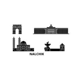 Russia nalchik flat travel skyline set russia vector