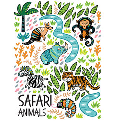 Safari animals print vector