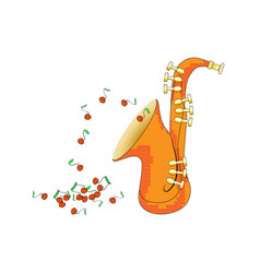 Saxophone from side view in cartoon style brass vector