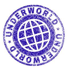 Scratched textured underworld stamp seal vector
