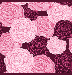 Seamless pattern pink and burgundy flowers vector