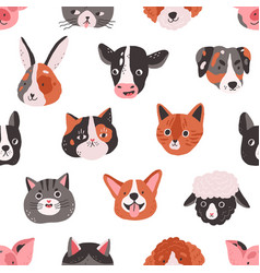 seamless pattern with cute animals faces in doodle vector image