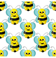 Seamless pattern with cute cartoon bee vector