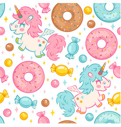 seamless pattern with cute unicorn vector image