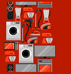 Seamless pattern with home appliances household vector