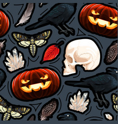 seamless pattern with pumpkin skull and raven vector image