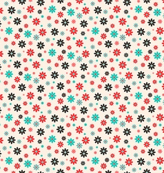 Seamless Retro Flat Design Flowers Pattern vector image
