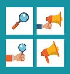Set digital marketing network media communication vector