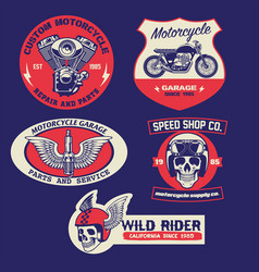 set vintage motorcycle badge design vector image