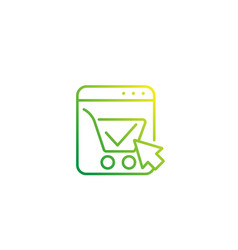 shopping cart completed order linear icon vector image
