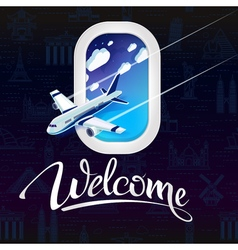Sign welcomeview from window airplane vector image
