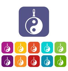 Sign yin yang icons set vector