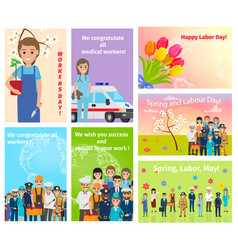 spring holiday labour day in may for all workers vector image
