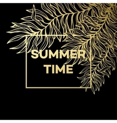 summer tropical background palm leaves and vector image