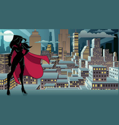 superheroine standing night city silhouette vector image