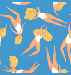 swimming girl pattern vector image