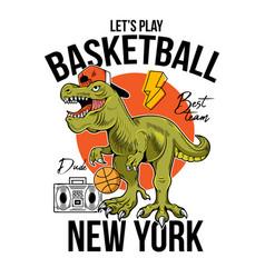 T-rex play basketball print design vector
