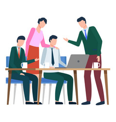 team employees developing idea on meeting vector image
