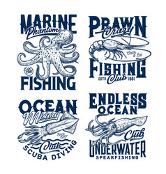 tshirt print with sketch underwater animals vector image