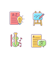 Variety of subjects in school rgb color icons set vector