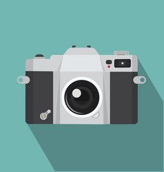 vintage camera icon with long shadow vector image